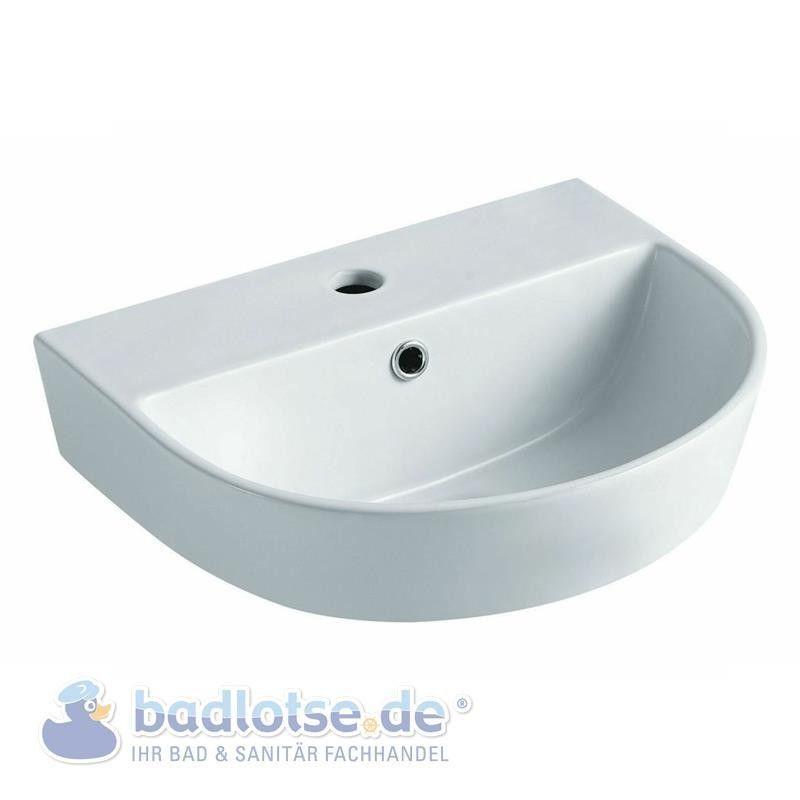 Aqvazone AQVACERAMICA Wasch-becken 60cm Halbrund Waschtisch Bad - badezimmer 60 cm