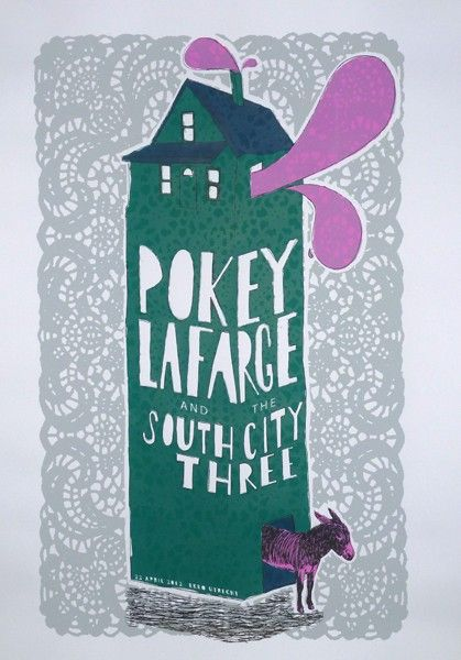 Pokey Lafarge And The South City Three Concert Poster By Jorisdiks Nl Concert Posters Gig Posters Screen Printing