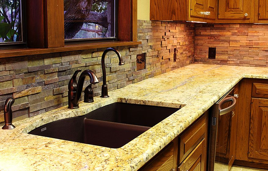 Kitchen Backsplash Rock stacked stone backsplash for kitchens | texas - custom stone