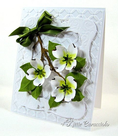 Quillin Cards Handmade Quilled Paper Greeting Card Dogwood Flowers NEW