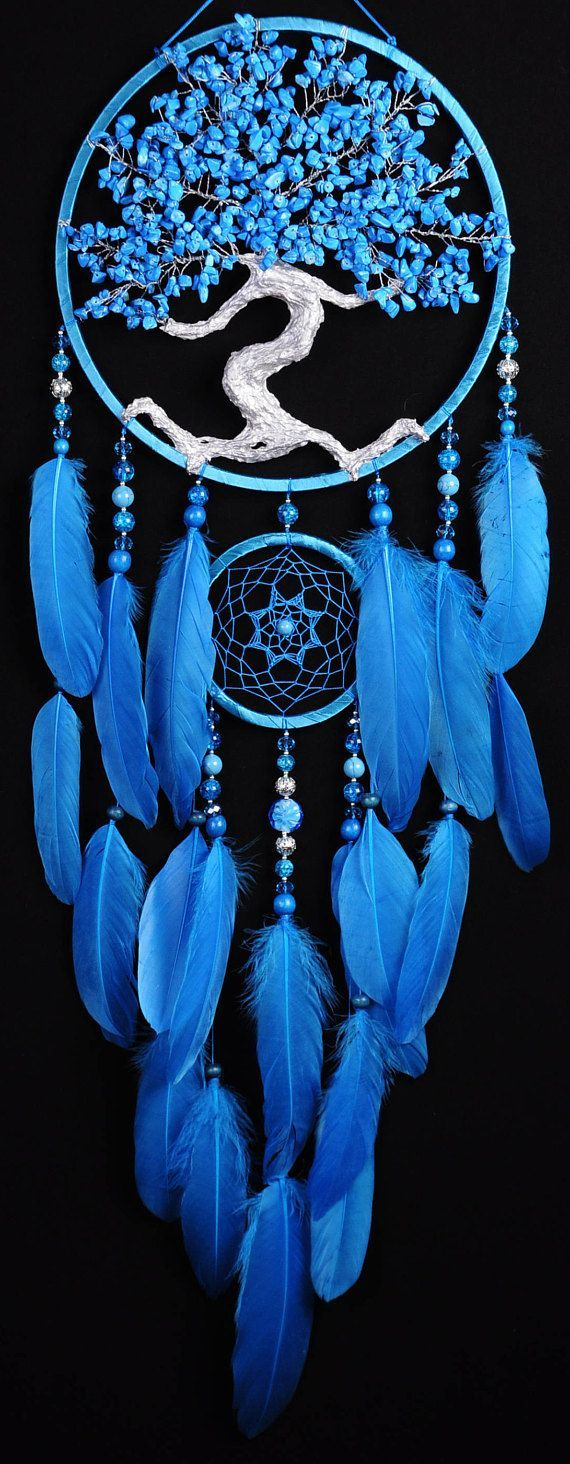Blue Dream Catcher Baum des Lebens Dreamcatcher türkis Dream сatcher blau türkis dreamcatchers #dreamcatcher