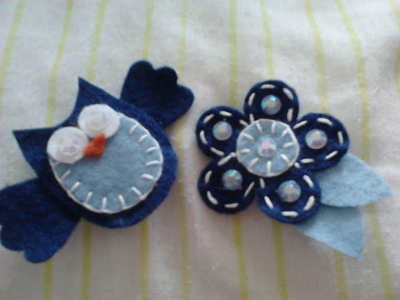 bico de pato,conjunto flor+coruja,feitos de feltro.vendido como par! R$ 10,00
