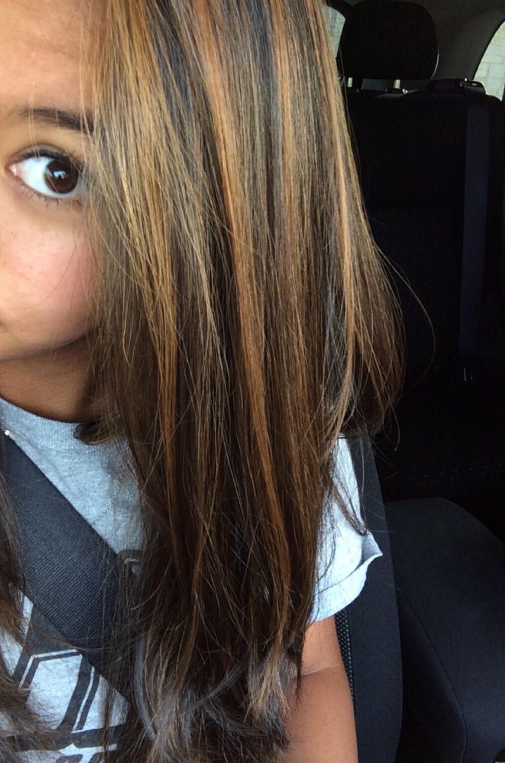 Light Highlights For Dark Brown Hair Thin Layers Of Light Brown In Dark Brown Or Black H Highlights For Dark Brown Hair Hair Color Highlights Long Hair Styles