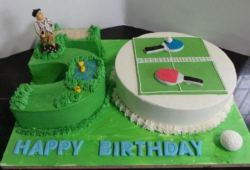 Golf Table Tennis Themed Men S 50th Birthday Cake Dad Birthday Cakes Birthday Cakes For Men 50th Birthday Cake