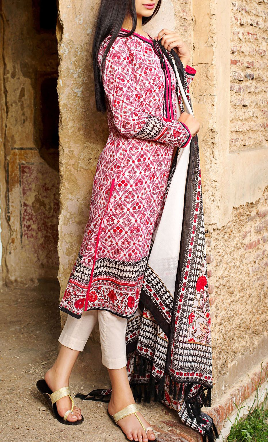Buy Pink Printed Cotton Lawn Dress by Khaadi Lawn Collection Vol.II ...