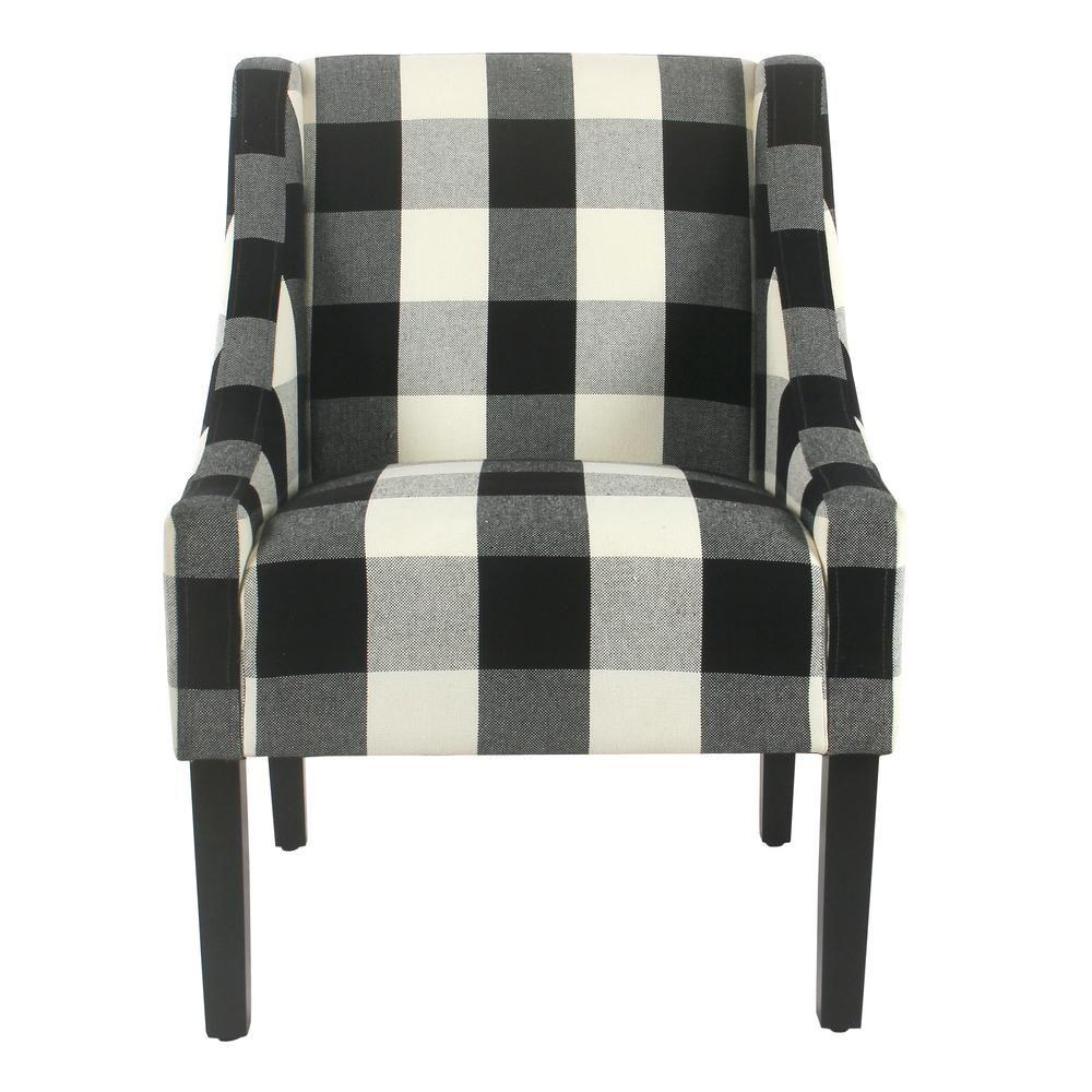 Best Homepop Buffalo Blue Plaid Modern Swoop Arm Accent Chair 400 x 300