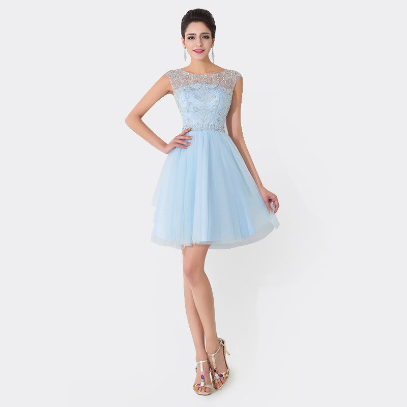 Online Shop Sexy New Jewel Neck Crystal Beaded Blue Tulle Cap Sleeve ...