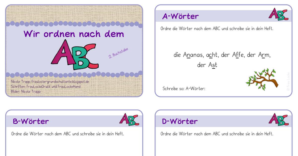 Kartei - nach ABC sortieren - 2. Buchstabe.pdf | Schule Unterricht ...