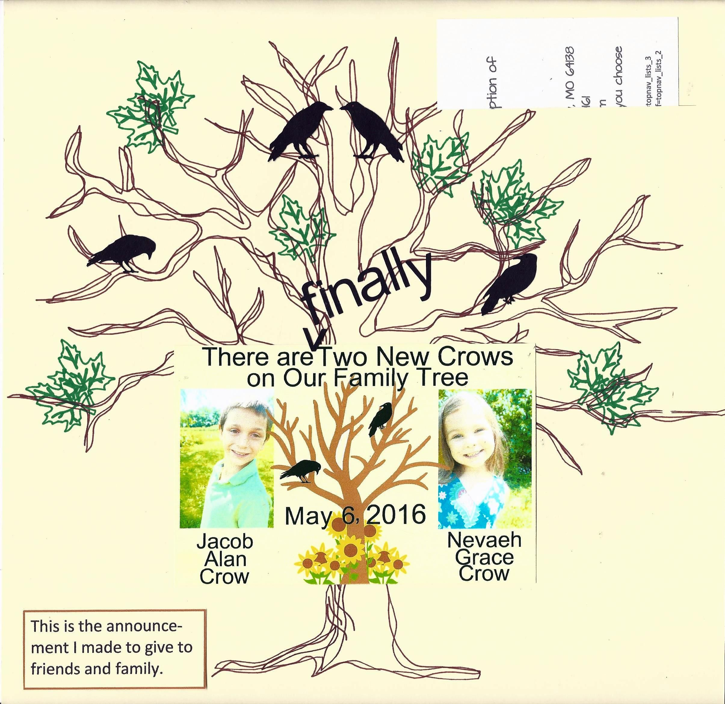 Two New Crows In Our Family Tree Adoption Scrapbook Layout