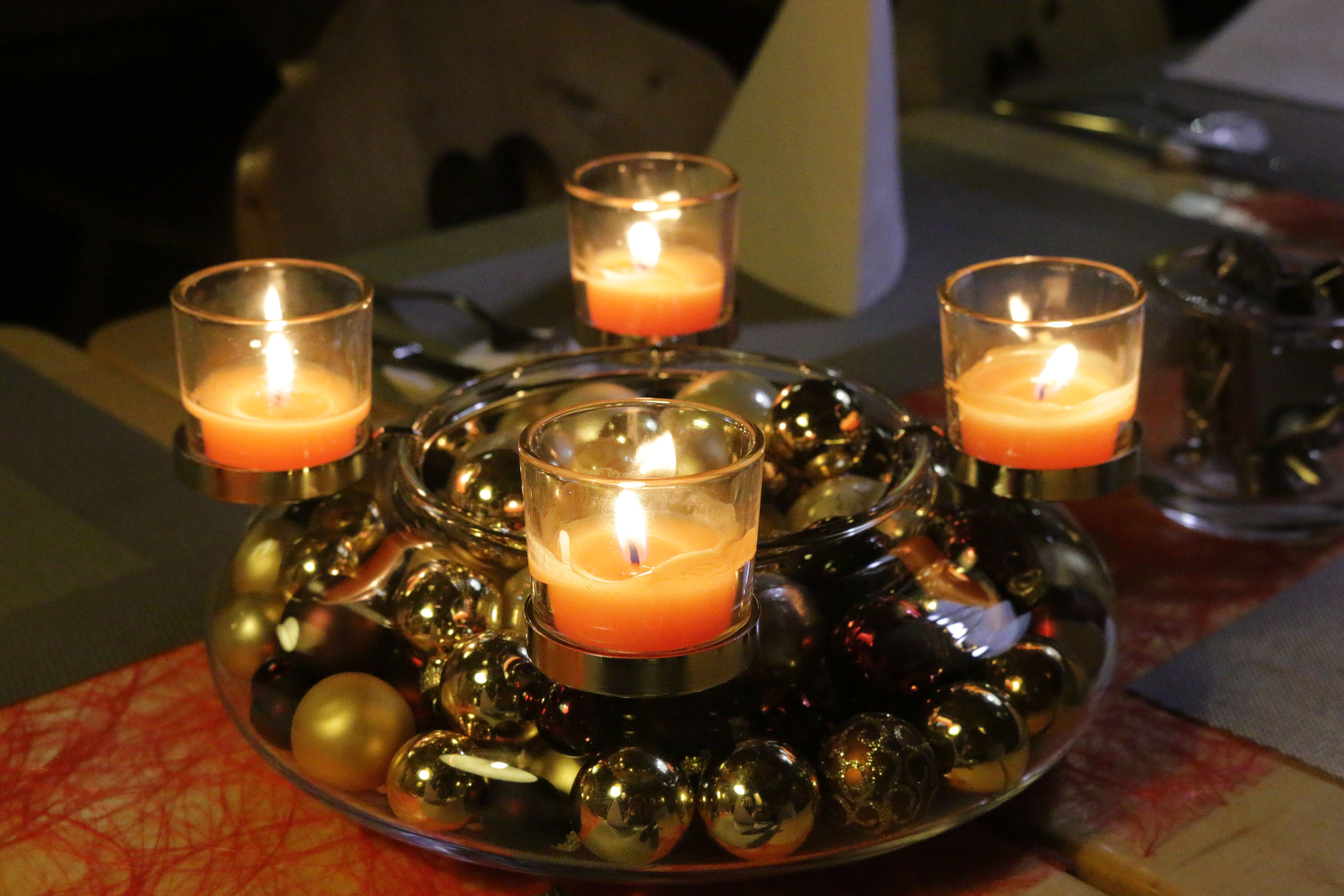 adventskranz deko mit partylite kerzen ideen glas