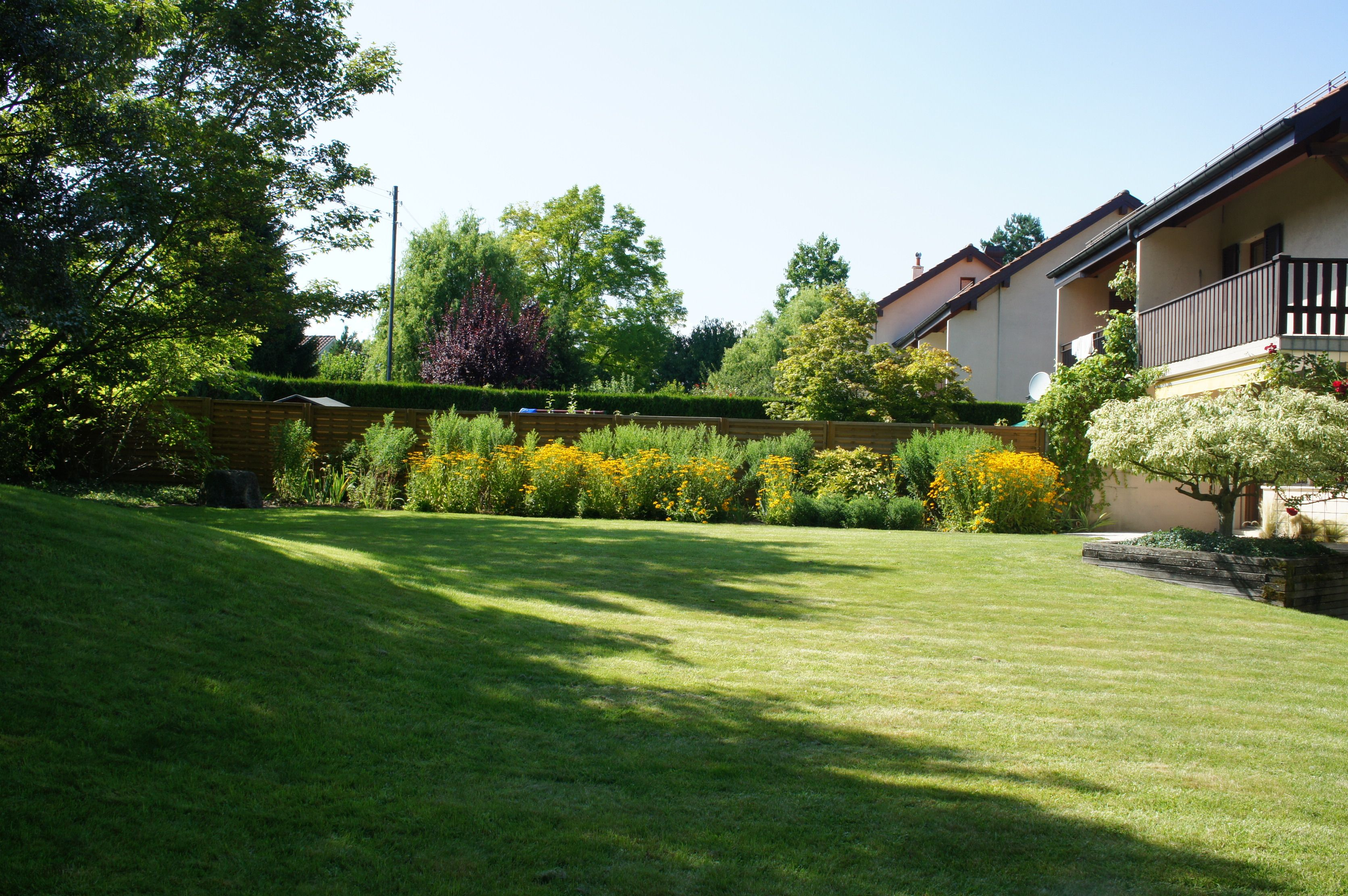 jardin engazonnée, variétés de fleurs et d\'arbustes et d\'arbres   Jardin