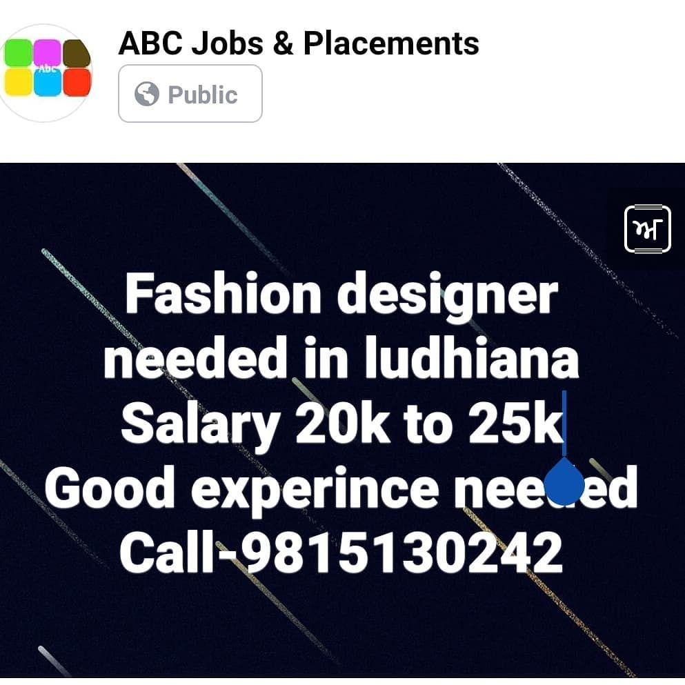 Required Fashion Designer In Ludhiana Salary 20 25 K Call Or What S App Your Resume At 9815130242 Jobs Jobsearch Jobshiri Resume Design Abc Jobs Resume