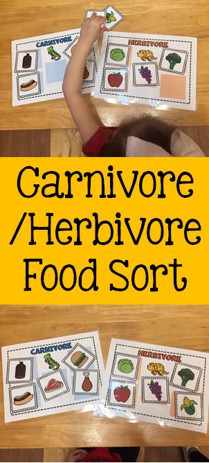 Carnivore or Herbivore Food Sort #dinosaur