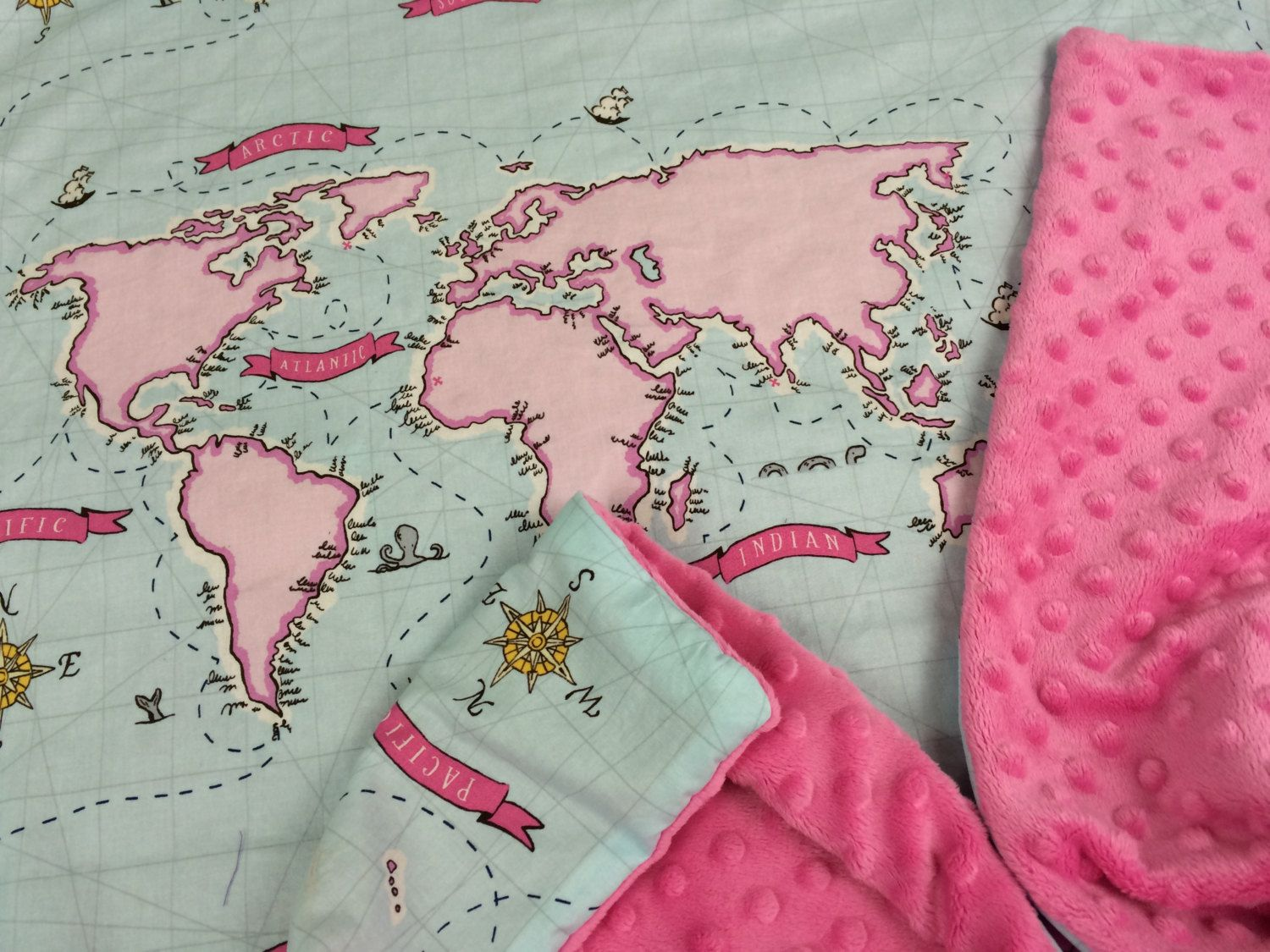 Throw blanket baby blue and pink world map and dark pink minky throw blanket baby blue and pink world map and dark pink minky fleece blanket gumiabroncs Gallery