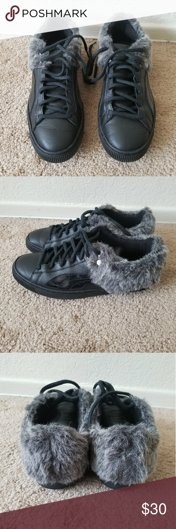 Almost new fur Puma womens size 9.5 worn once cleaning out