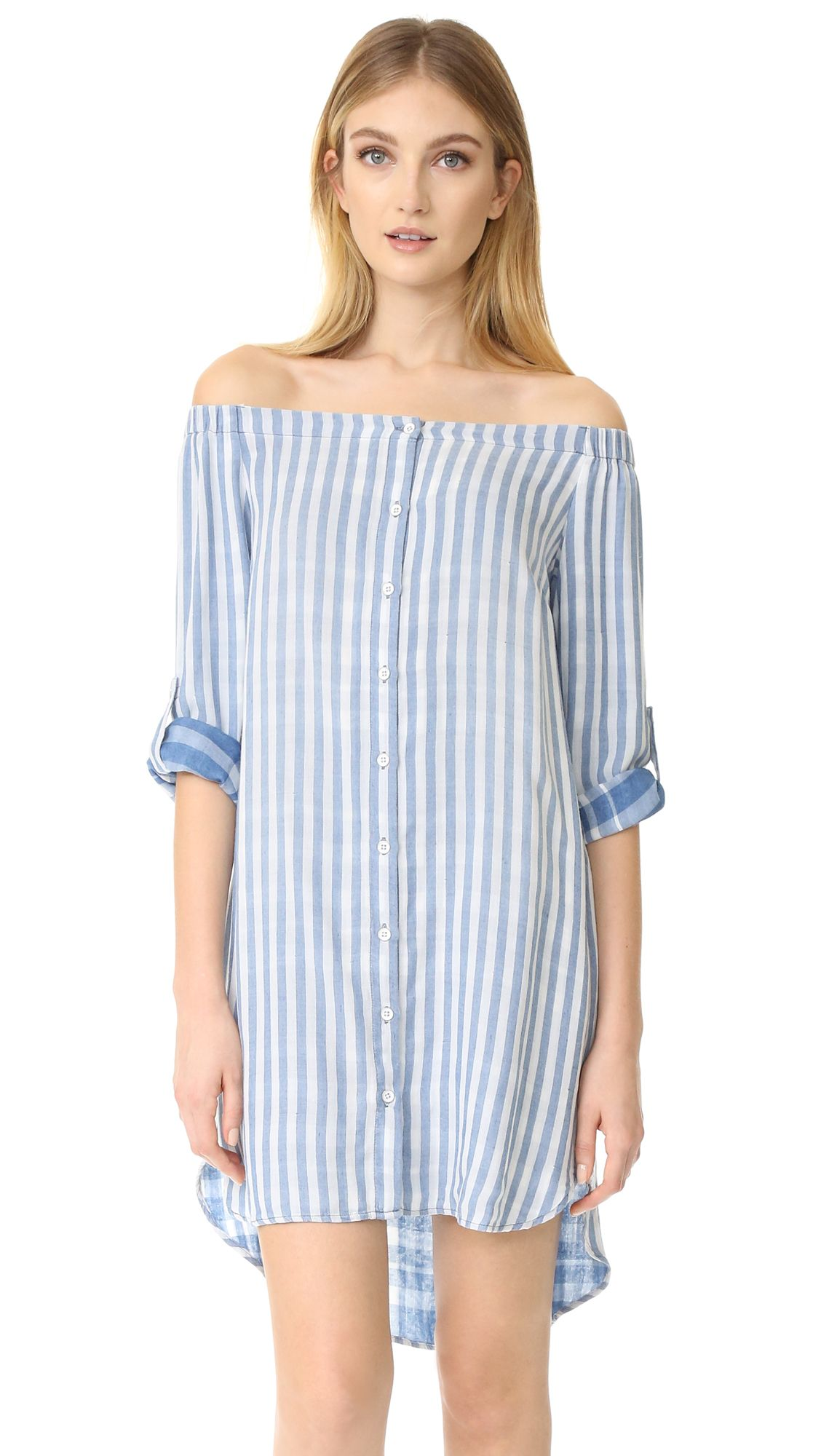 Bella Dahl Off Shoulder Button Front Dress - Marina Wash. A striped, off  shoulder Bella Dahl dress detailed with peek a boo plaid backing at the  sleeves.