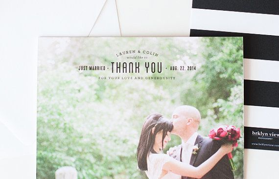 Modern and fun black and white thank you cards with stripes from the Brklyn View Collection by Sincerely, Jackie and Brklyn View Photography