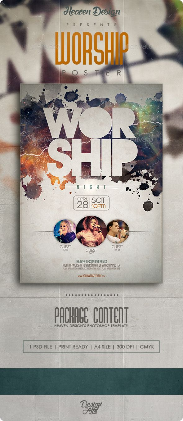 flyer templates for your church or spiritual event promotion worship poster this worship template was designed by heaven design and is exclusively on graphic river it can worship poster events flyers