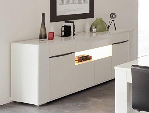 Schrank wohnzimmer weiß  Sideboard Ceren 3 weiß Hochglanz Melamin 201x84x52 cm Schrank ...
