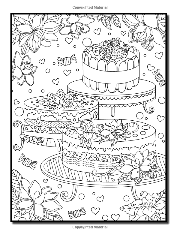 pastry coloring pages - delicious desserts an adult coloring book