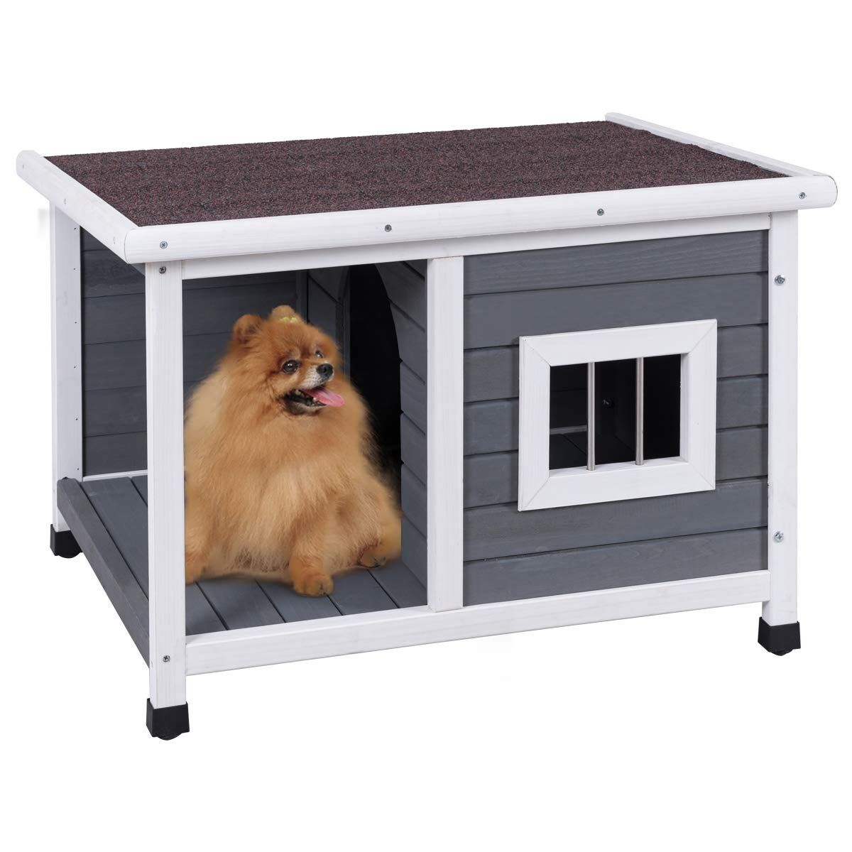 Petsjoy Pet Cat Dog House Wooden Dog Cat Room Shelter Weatherproof Puppy House Kitty Condo Room With Plat Outdoor Dog House Dog House For Sale Wood Dog House