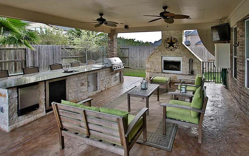 Outdoor kitchen with long countertop under covered porch ...