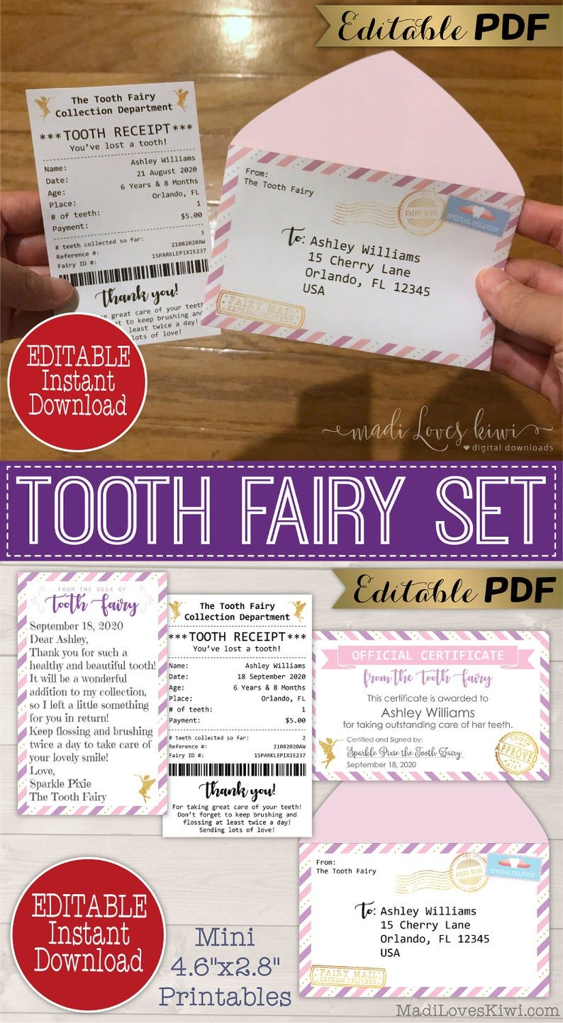 Editable Tooth Fairy Letter Bundle With Printable Receipt Certificate Envelope Note Set First Lost Template Girl Digital Instant Download In 2021 Tooth Fairy Letter Tooth Fairy Kit Tooth Fairy Certificate