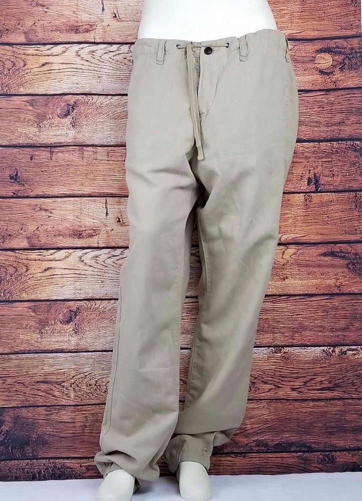 4ac956fb H&M L.O.G.G. Linen Mens Regular Fit Pants Khaki Size: 33 Draw String #HM  #CasualPants
