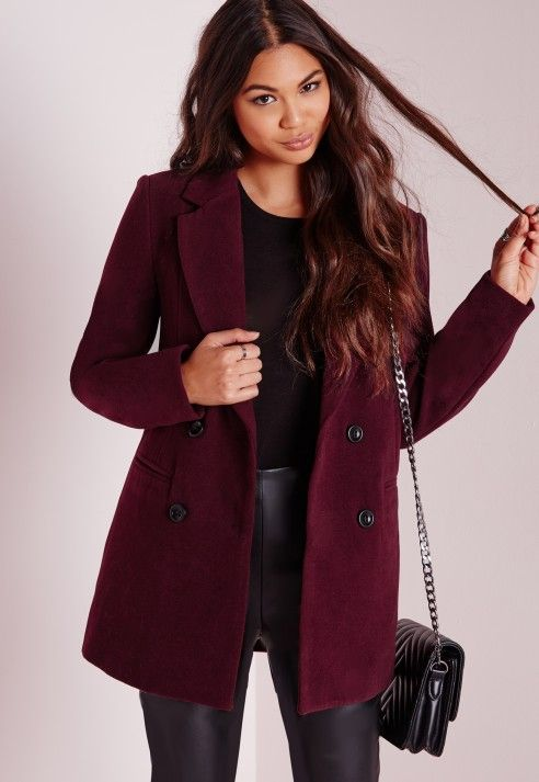 Double Breasted Tailored Wool Coat Burgundy - Coats and