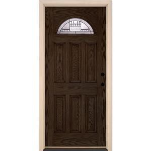 Feather River Doors 37.5 in. x 81.625 in. Preston Patina Fan Lite Stained Walnut Oak Left-Hand Inswing Fiberglass Prehung Front Door-443990 - The Home Depot  sc 1 st  Pinterest & Feather River Doors Preston Patina Fan Lite Stained Walnut Oak ...