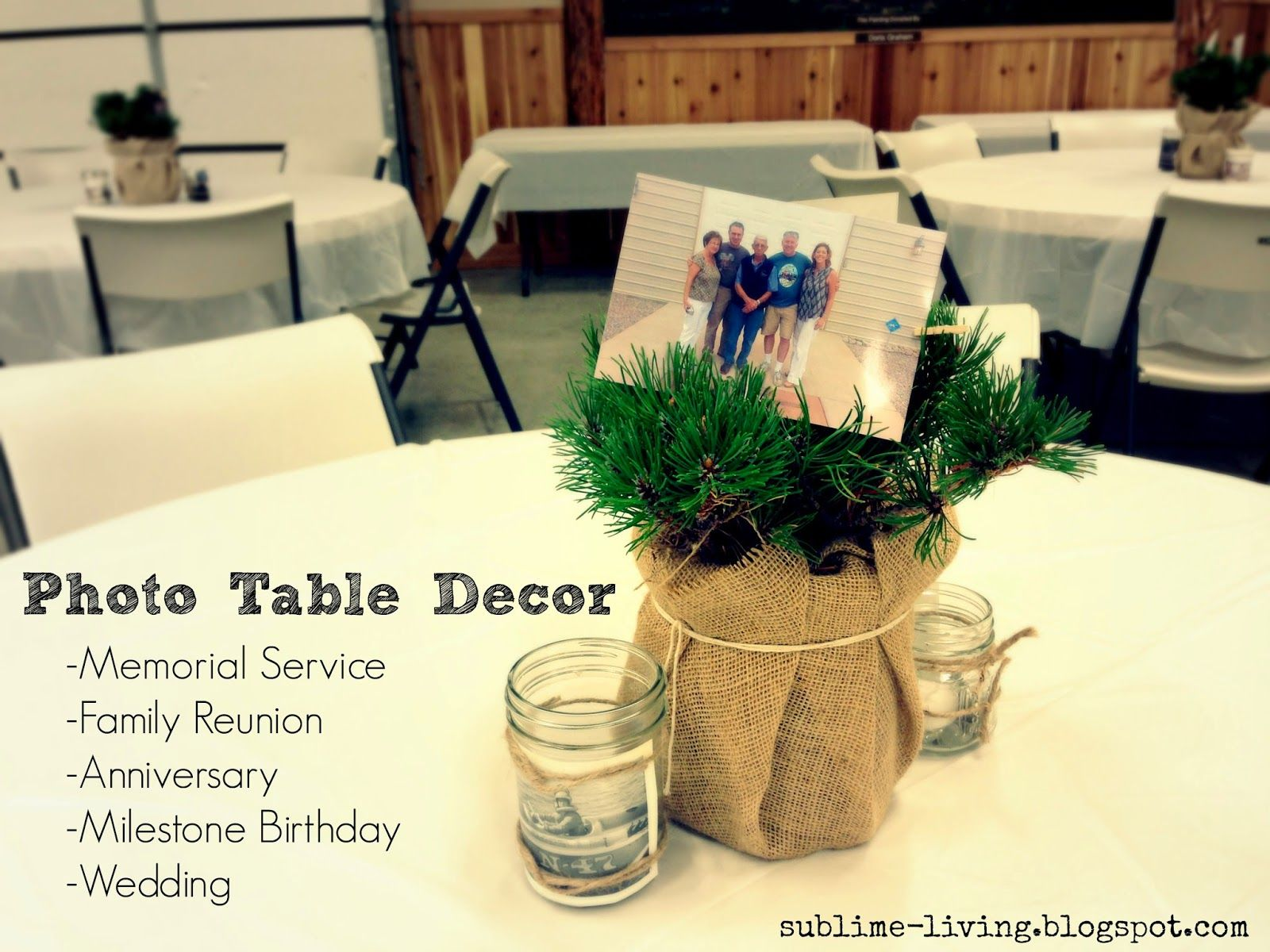 pictures of wedding centerpieces using mason jars%0A Have simple photo centerpieces at the funeral reception   FuneralReceptionIdeas  FuneralIdeas