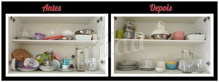 Procure deixar os itens mais usados nas prateleiras mais baixas e os itens menos utilizados nas mais altas. #donaajuda #organizacao #chegadebagunca #cozinhas #antesedepois