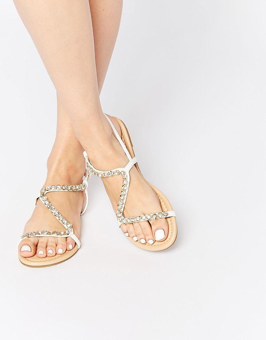 Flat rhinestone sandals for wedding - Asos Flirty Embellished Flat Sandals