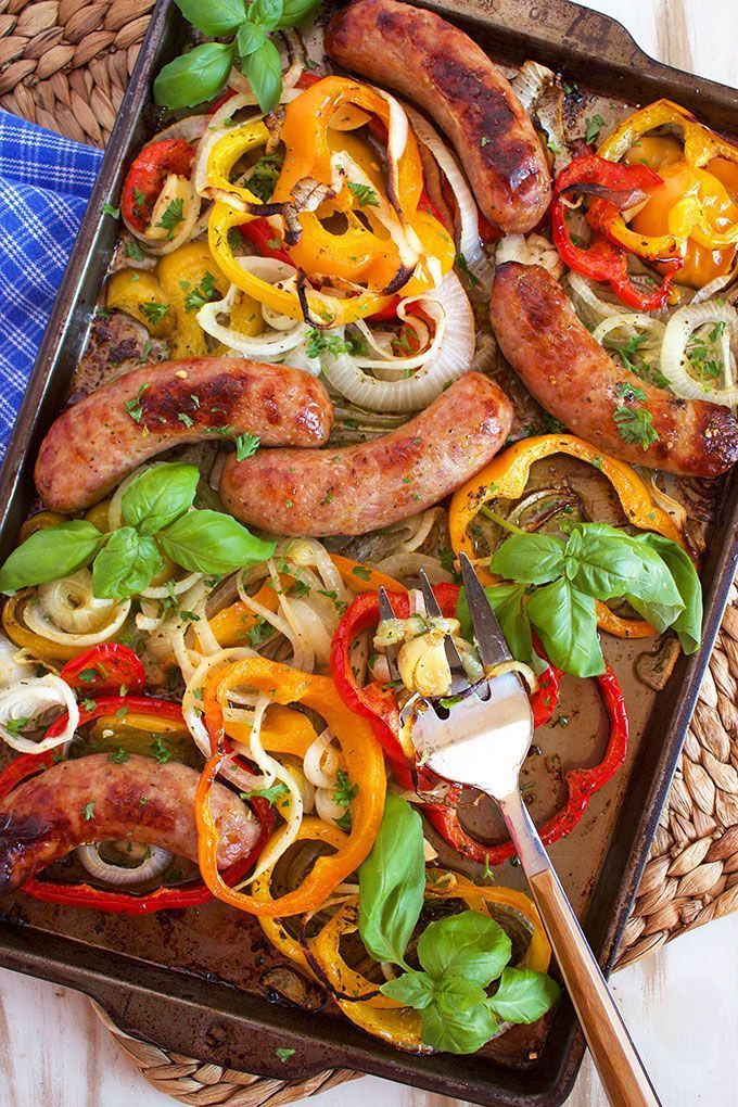 easy Sheet Pan Sausage and Pepper is the weeknight dinner you're searching for. Ready in less than 30 minutes and a hit with the whole family.   @suburbansoapbox