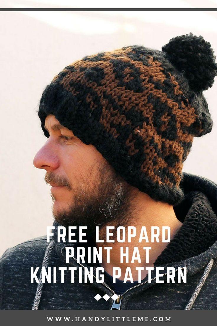 Leopard print pattern men\'s hat. Free knitting pattern. | Knit ...