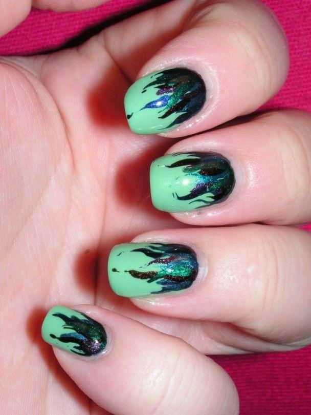 Green Nail Art | Green nail art