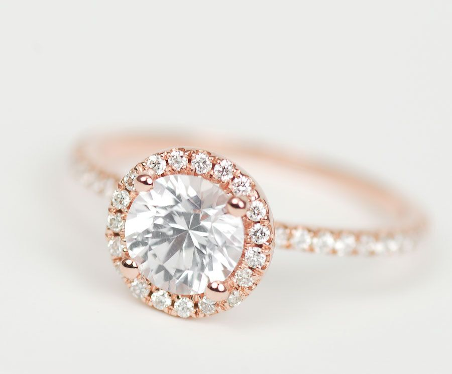 certified premium white sapphire diamond 14k rose white or yellow gold halo engagement ring 142000 - Wedding Rings Rose Gold