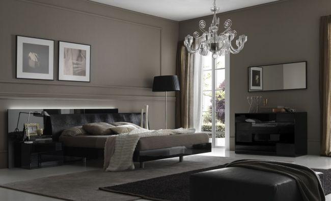 wohnideen schlafzimmer design modern grau kronleuchter ...