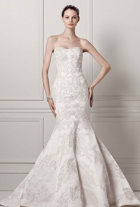 Brides: Oleg Cassini at David\'s Bridal. Strapless satin trumpet gown ...