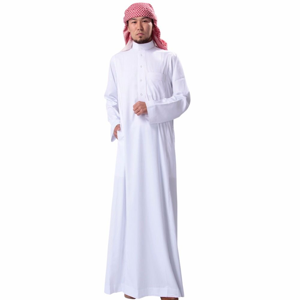 Muslim Men Solid Long Sleeve Loose Thobe - Silimy Muslim Clothing