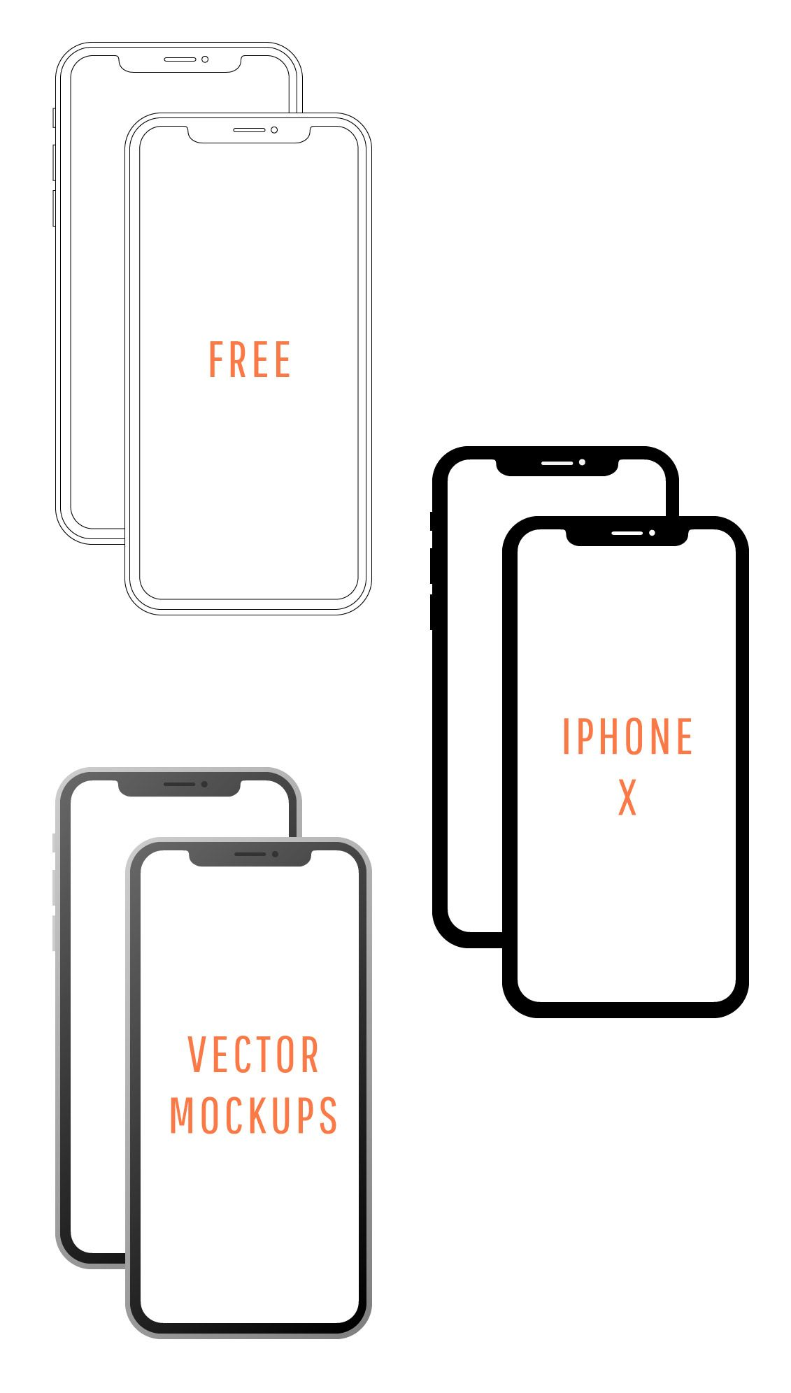 Free iPhone X Vector Mockups Simple, minimal iPhone X ...