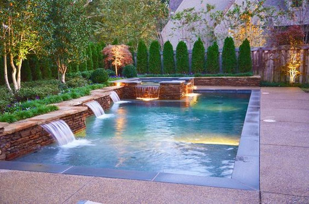 99 Creative Swimming Pools Design Ideas For Your Yard Rectangle Swimming Pools Rectangular Swimming Pools Hot Tub Backyard