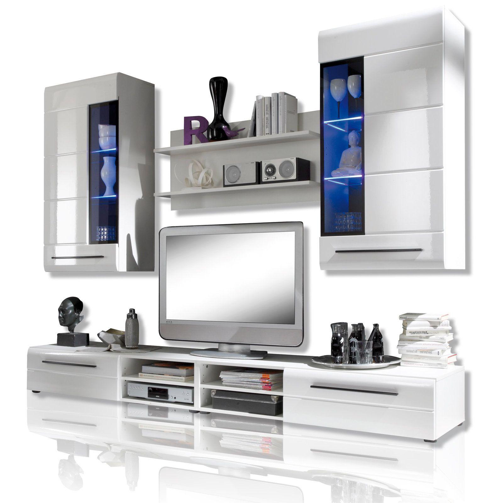 Wohnzimmermöbel Angebote: Wohnwand SKIN - Weiß Hochglanz - LED Beleuchtung