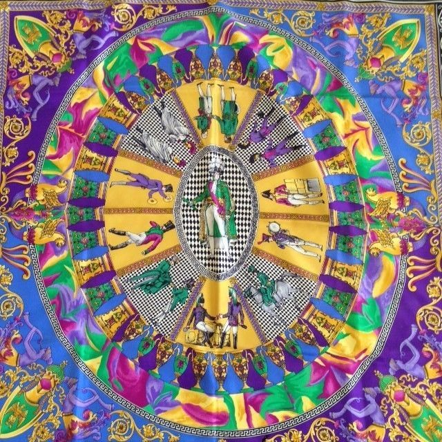 e6b9dc68088 Vintage 1980s Atelier VERSACE Gianni Versace Multi Color Silk Scarf  Versace   Scarf