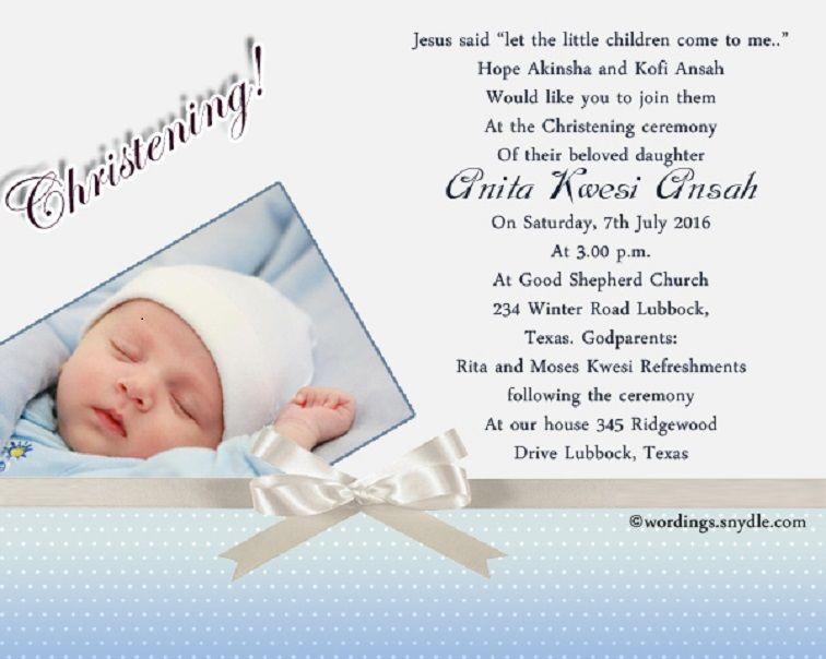 Baptism Invitation Wording With Reception Baptism