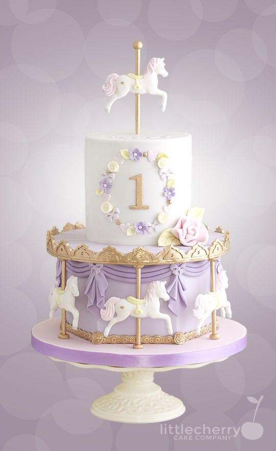 Admirable Pastel Carousel Cake Carousel Cake Birthday Cake Kids 1St Personalised Birthday Cards Akebfashionlily Jamesorg
