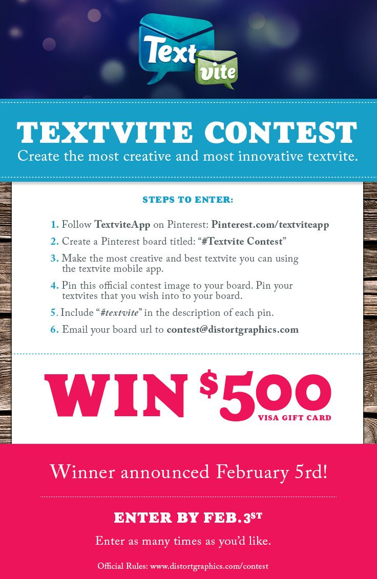 Pin your best textvite and win $500 dollar visa Gift card.