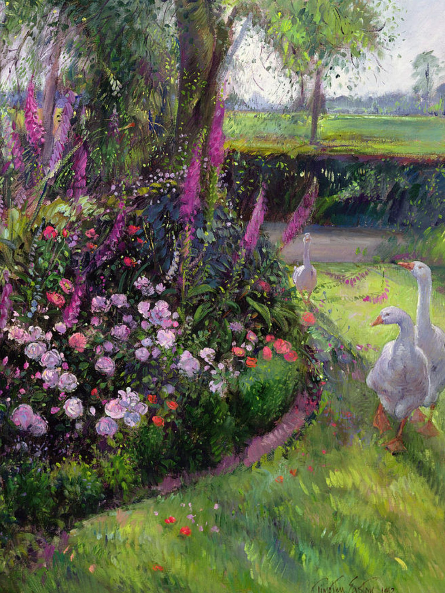 Garden bed with trees  ROSE BED AND GEESE  Painting  Pinterest