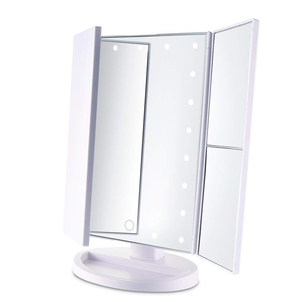 Tri Fold Lighted Vanity Mirror With 21 Led Lights Touch Screen 1x