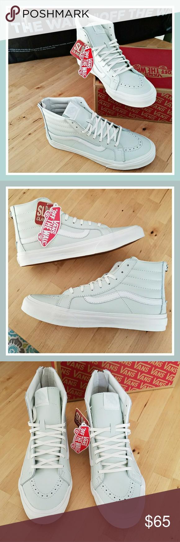 848a67abaee82f Vans Sk8-Hi Slim Zip in Leather Zephyr Blue Brand new with box and tags Vans  Sk8-Hi Slim Zips. Men s 8 Women s 9.5 Vans Shoes Sneakers